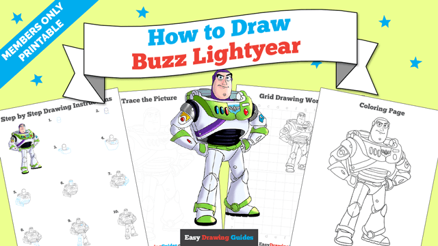 download a printable PDF of Buzz Lightyear from Toy Story drawing tutorial