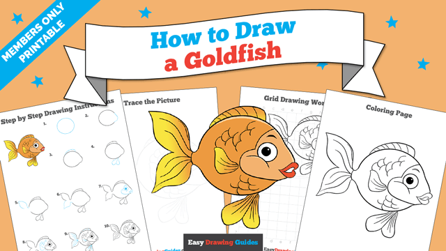 download a printable PDF of Goldfish drawing tutorial