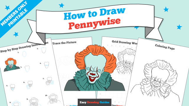 download a printable PDF of Pennywise drawing tutorial