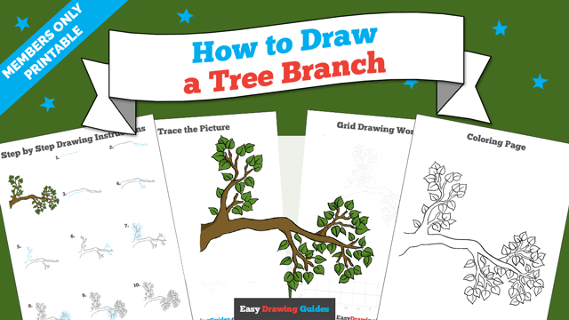 download a printable PDF of Tree Branch drawing tutorial