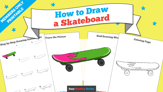 download a printable PDF of Skateboard drawing tutorial