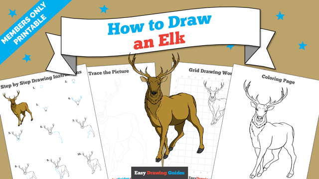 Printables thumbnail: How to draw an Elk