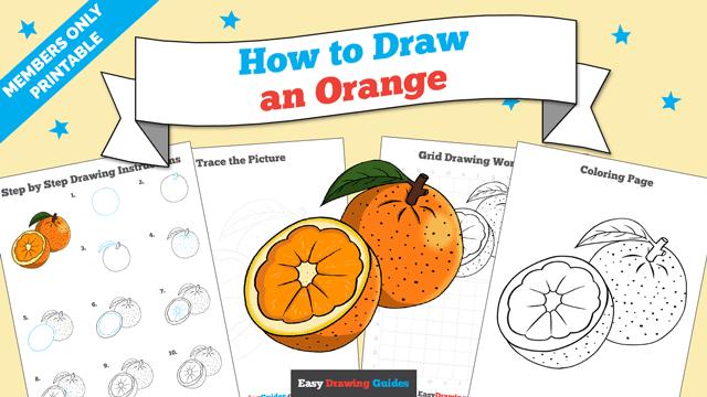Printables thumbnail: How to draw an Orange