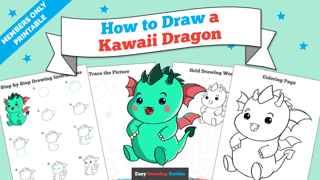 download a printable PDF of Kawaii Dragon drawing tutorial