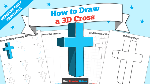 download a printable PDF of 3D Cross drawing tutorial