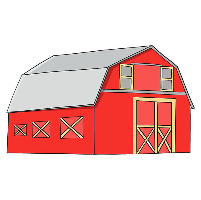 How to Draw Barn: Step 10