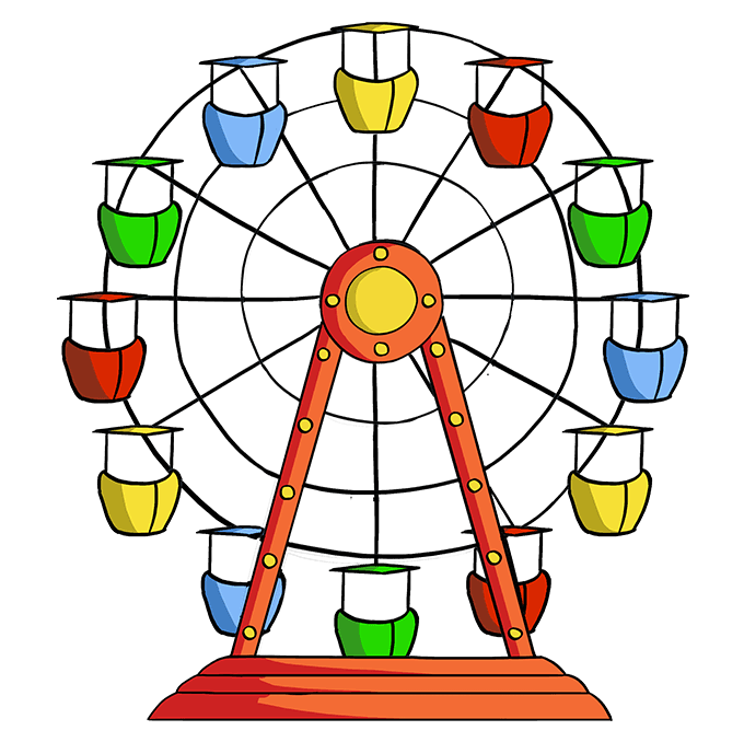 How to Draw Ferris Wheel: Step 10
