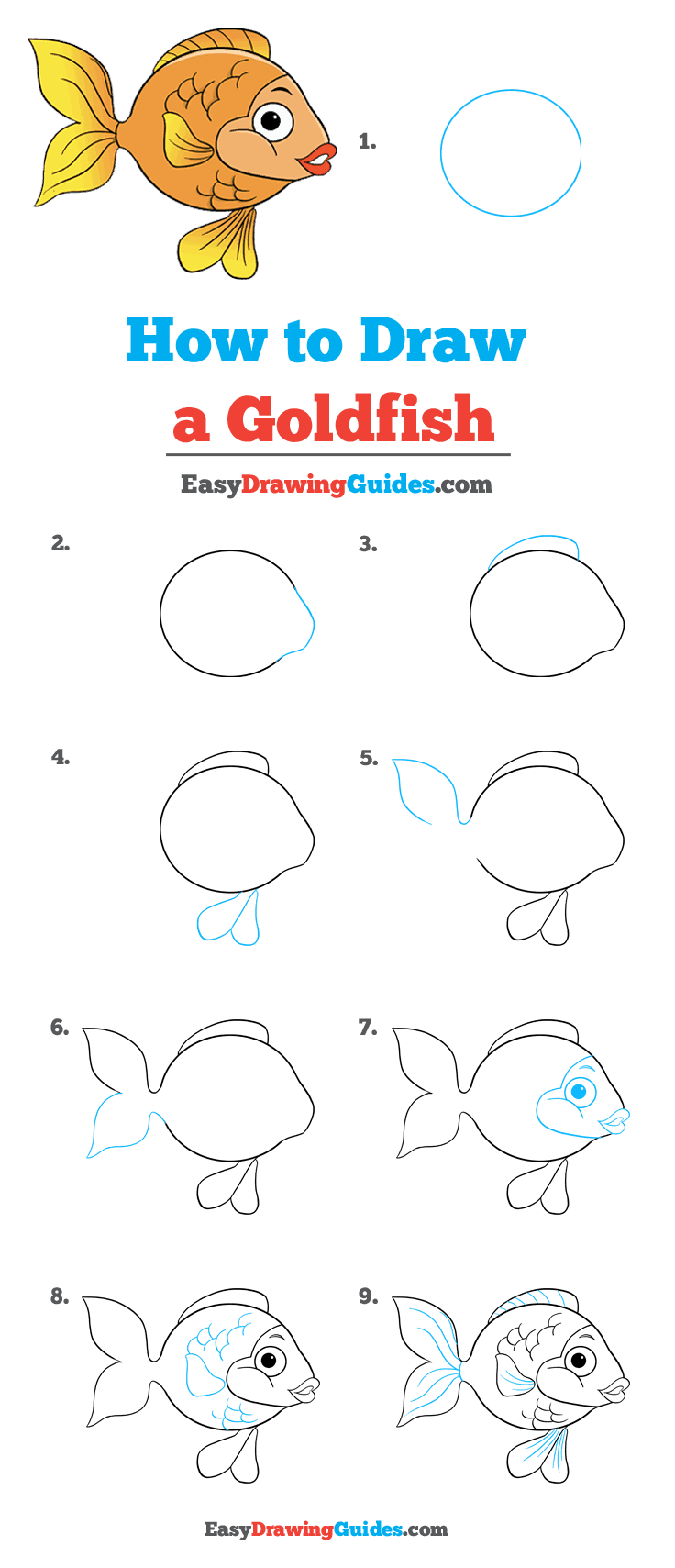 How to Draw Goldfish | Share to Pinterest