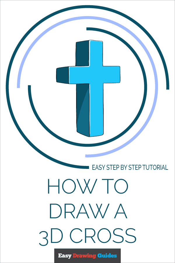 How to Draw 3D Cross | Share to Pinterest
