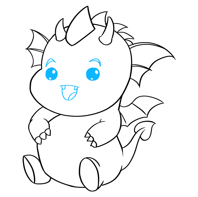 How to Draw Kawaii Dragon: Step 9