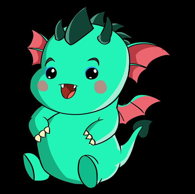 How to Draw Kawaii Dragon: Step 10