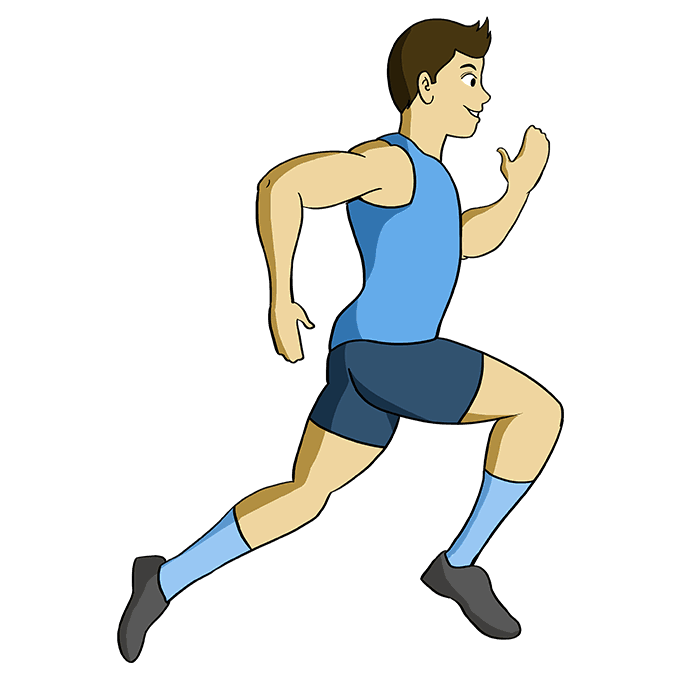 How to Draw a Person Running Step 10