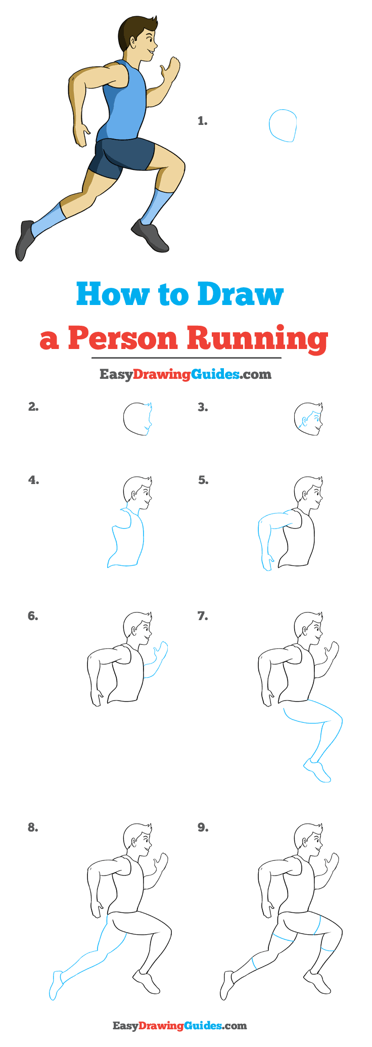 How to Draw a Person Running Step by Step Tutorial Image