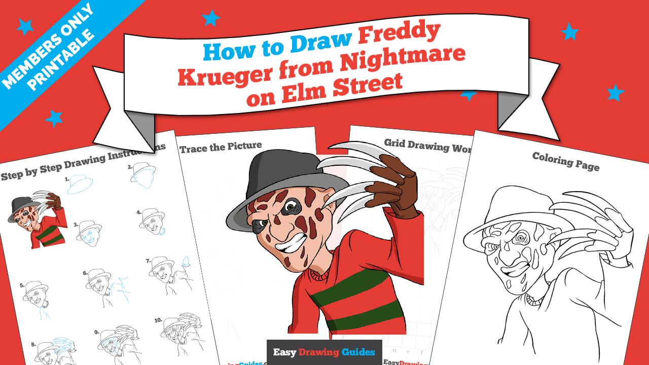 download a printable PDF of Freddy Krueger from Nightmare on Elm Street drawing tutorial