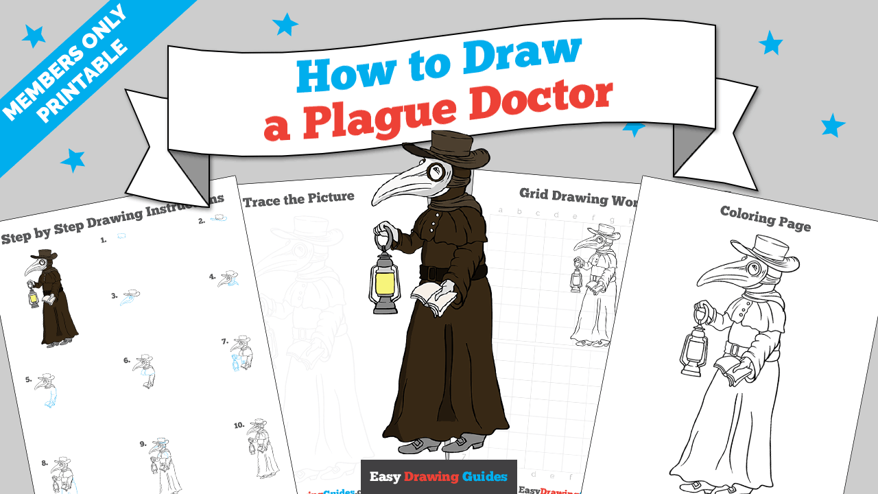 download a printable PDF of Plague Doctor drawing tutorial