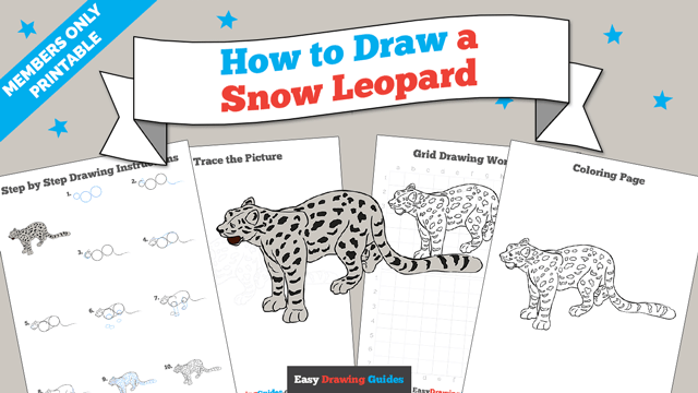 download a printable PDF of Snow Leopard drawing tutorial