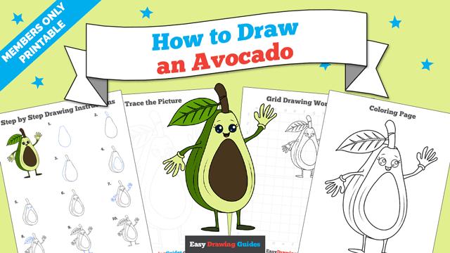 download a printable PDF of Avocado drawing tutorial