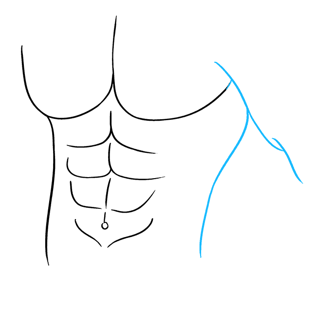 How to Draw Abs Step 08