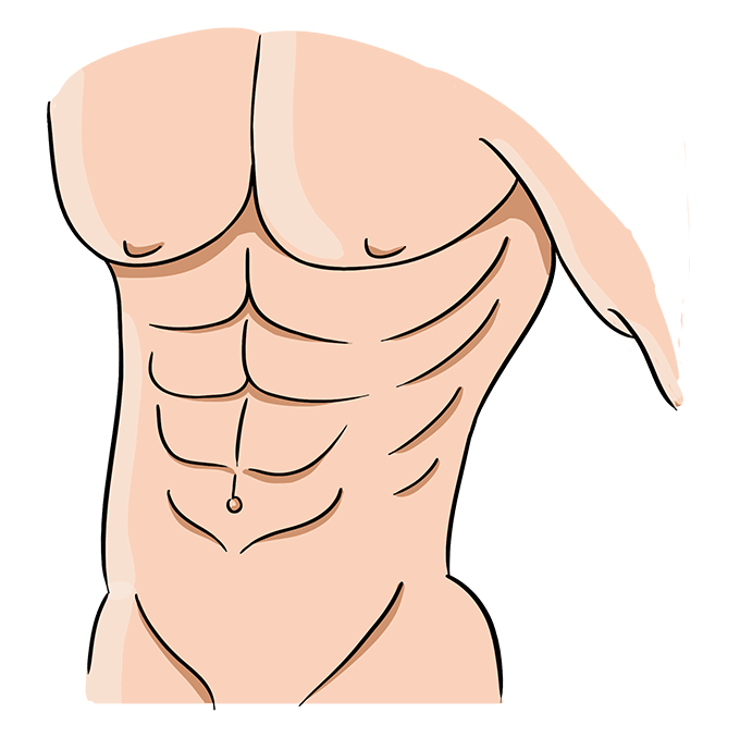 How to Draw Abs Step 10