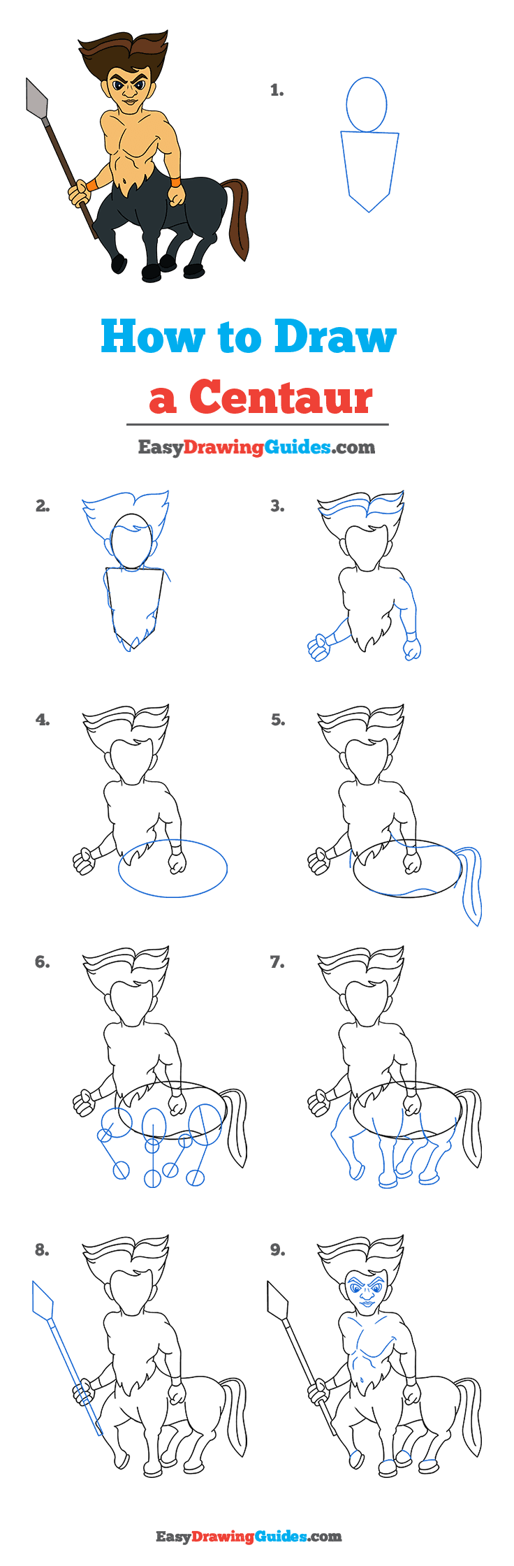 How to Draw a Centaur Step by Step Tutorial Image