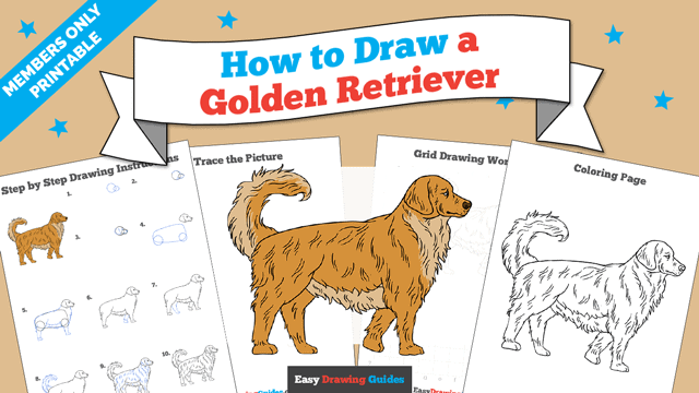 download a printable PDF of Golden Retriever drawing tutorial