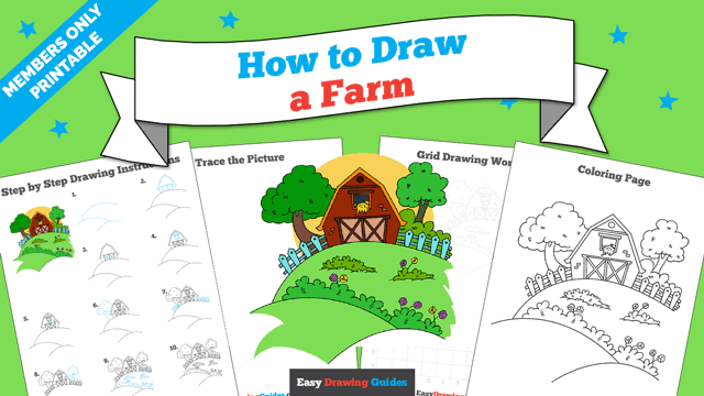 download a printable PDF of Farm drawing tutorial