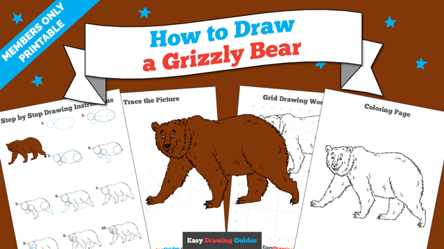 download a printable PDF of Grizzly Bear drawing tutorial