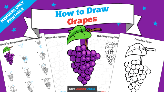 download a printable PDF of Grapes drawing tutorial