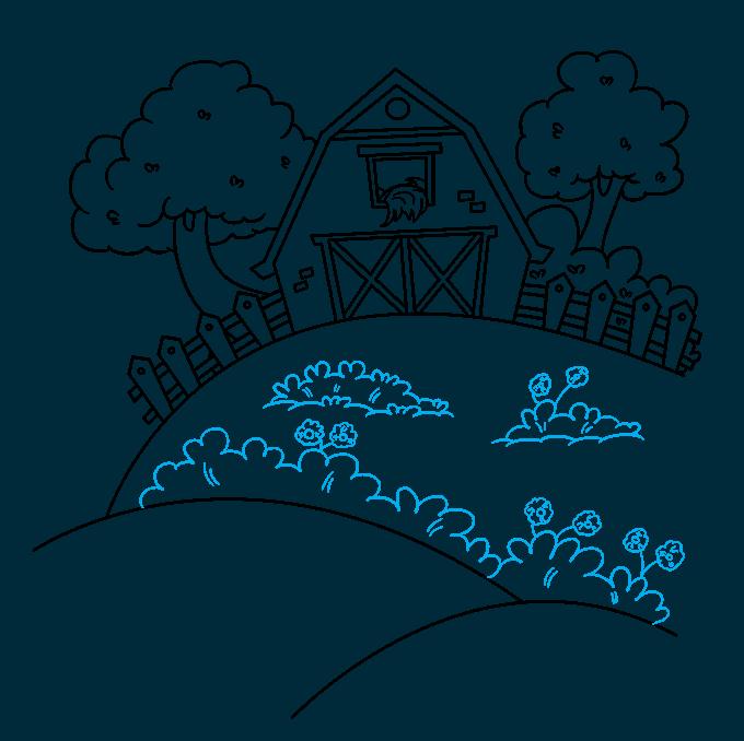 How to Draw a Farm Step 09