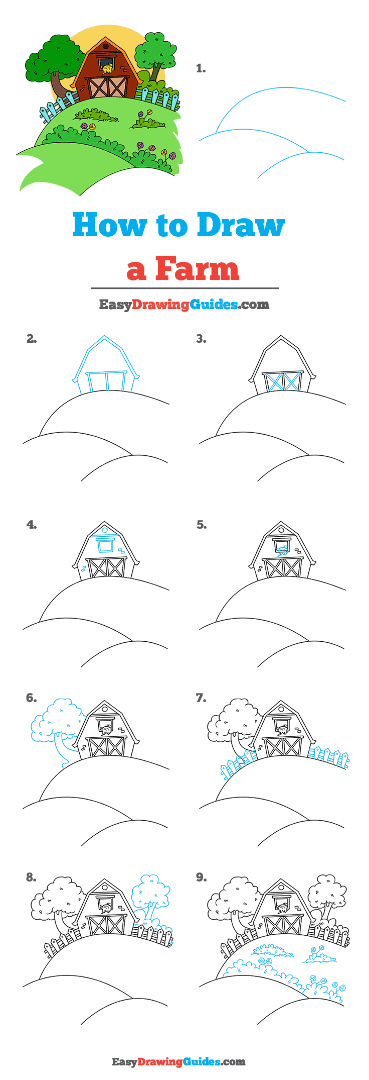 How to Draw a Farm Step by Step Tutorial Image