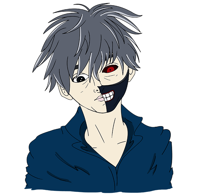 How to Draw Ken Kaneki from Tokyo Ghoul Step 10