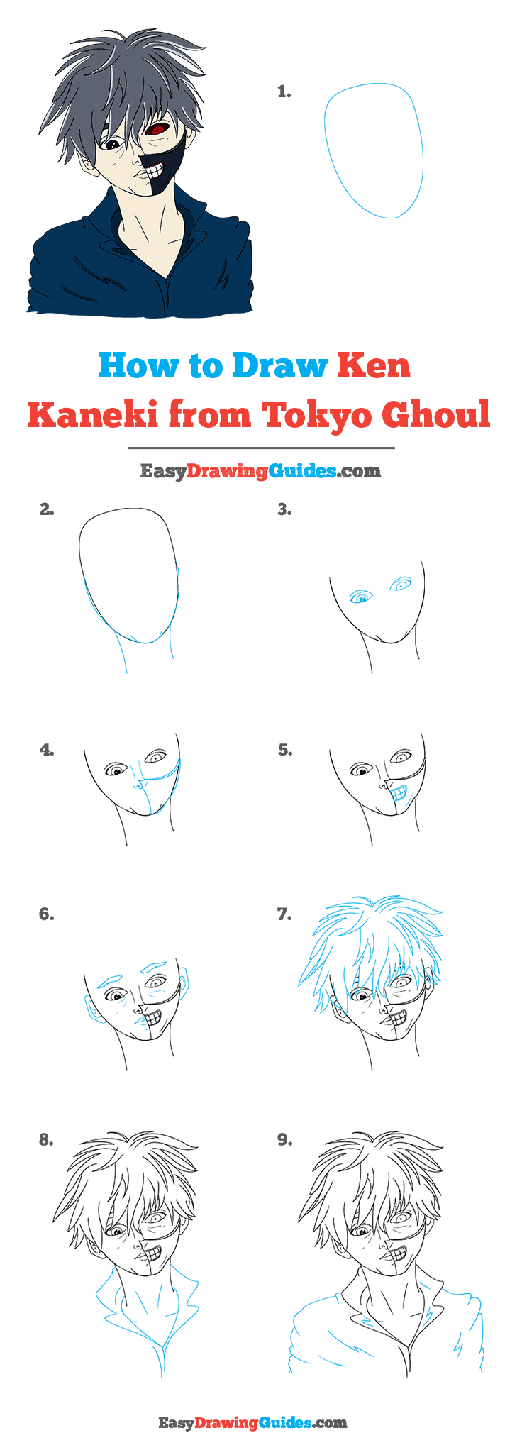How to Draw Ken Kaneki from Tokyo Ghoul Step by Step Tutorial Image