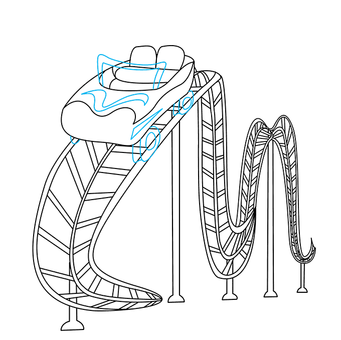 How to Draw Roller Coaster: Step 7