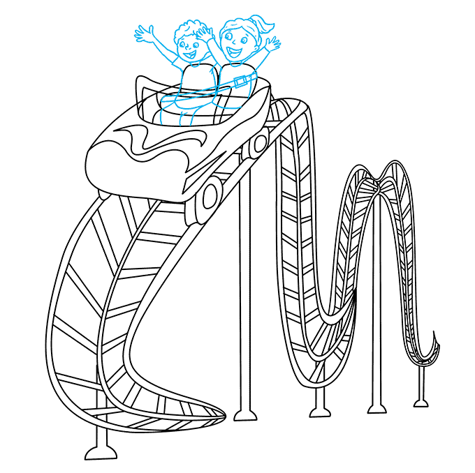 How to Draw Roller Coaster: Step 8