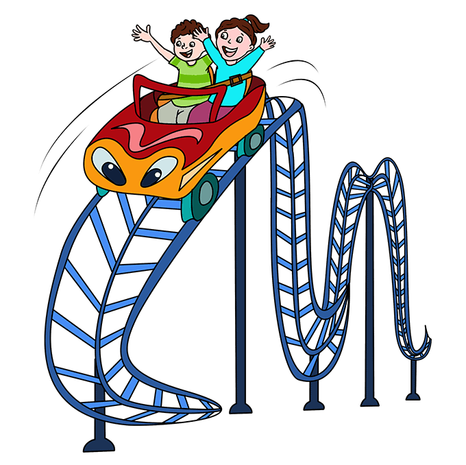 How to Draw Roller Coaster: Step 10