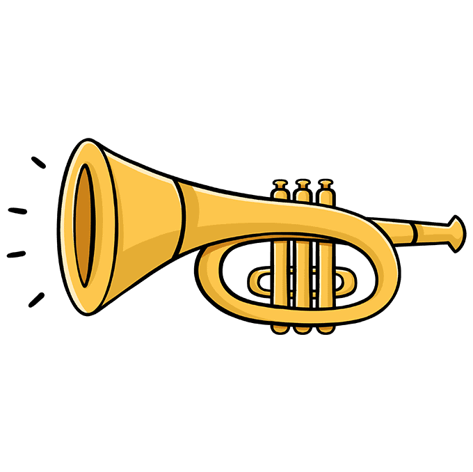 How to Draw a Trumpet Step 10