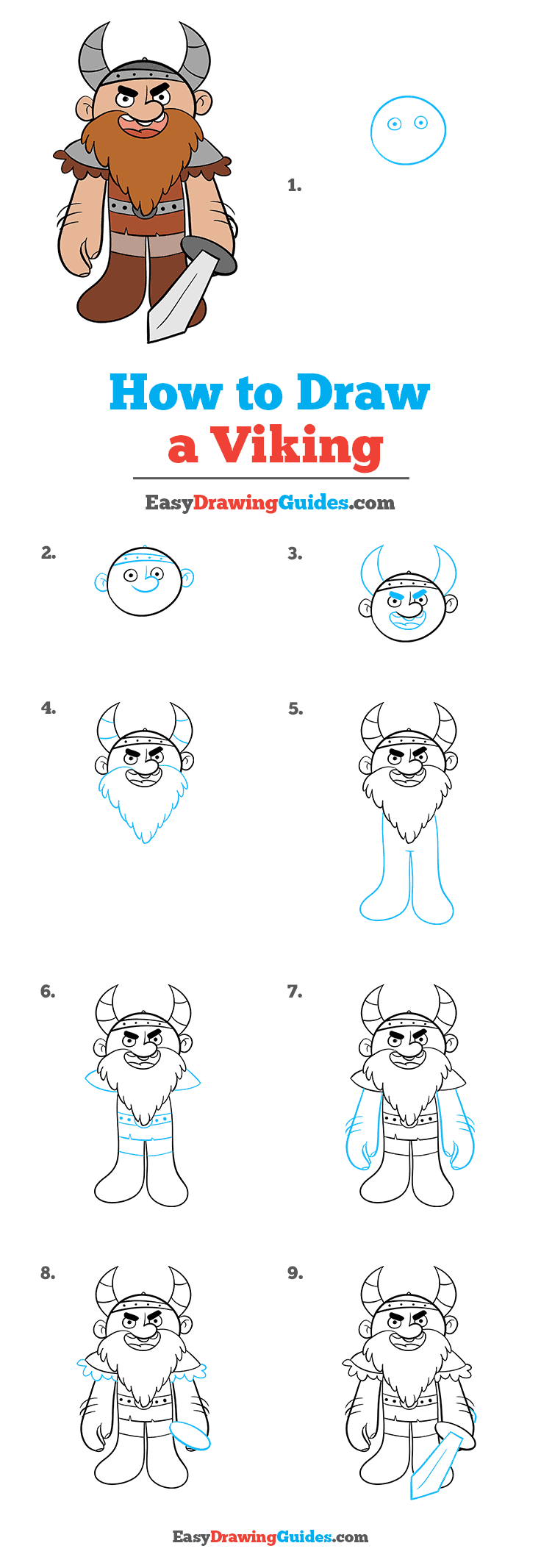 How to Draw a Viking Step by Step Tutorial Image