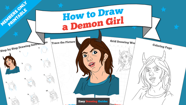 download a printable PDF of Demon Girl drawing tutorial