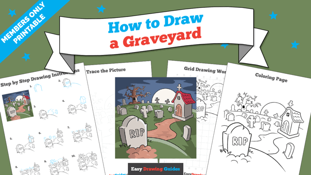 download a printable PDF of Graveyard drawing tutorial