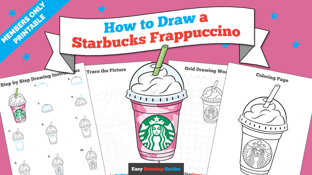 download a printable PDF of Starbucks Frappuccino drawing tutorial