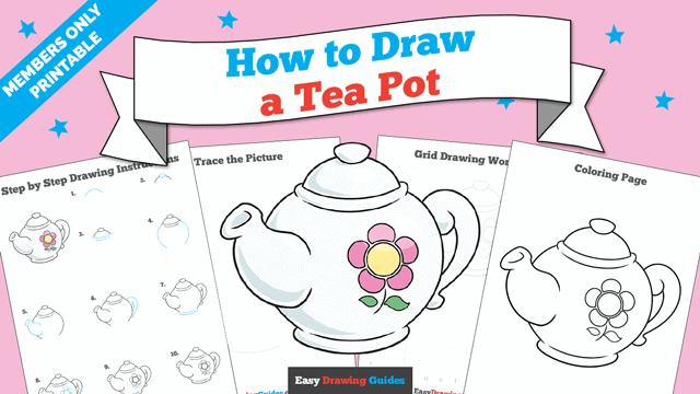 download a printable PDF of Tea Pot drawing tutorial
