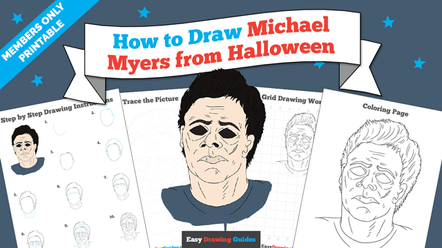 download a printable PDF of Michael Myers from Halloween drawing tutorial