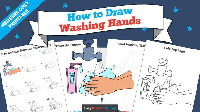 download a printable PDF of Washing Hands drawing tutorial
