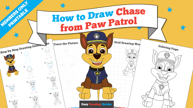 download a printable PDF of Chase from Paw Patrol drawing tutorial