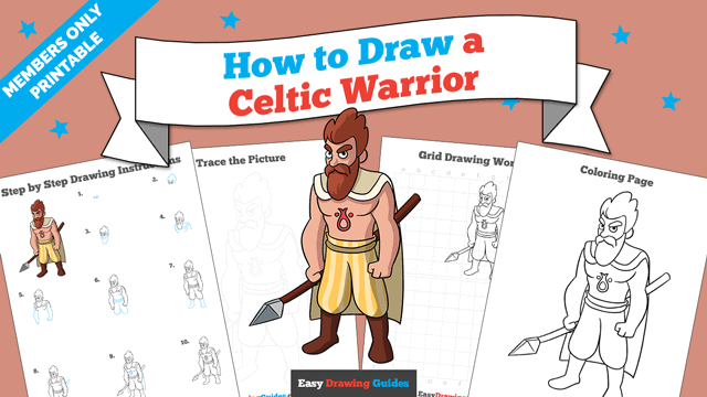 download a printable PDF of Celtic Warrior drawing tutorial