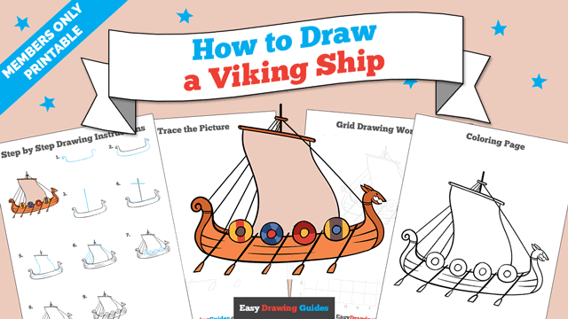 download a printable PDF of Viking Ship drawing tutorial