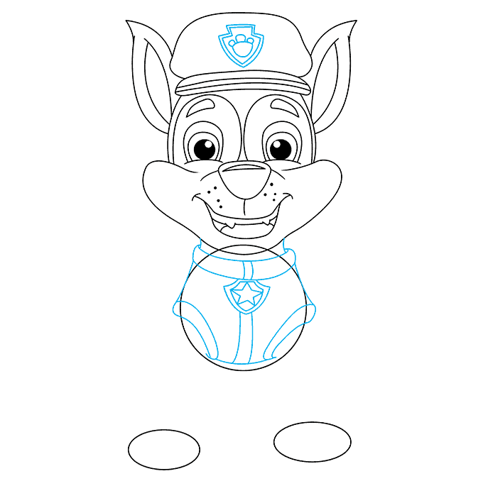How to Draw Chase from Paw Patrol: Step 6