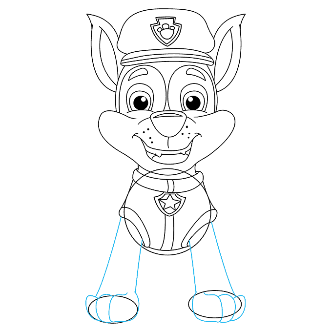 How to Draw Chase from Paw Patrol: Step 7