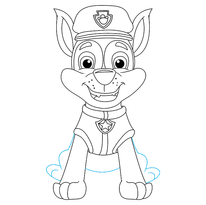 How to Draw Chase from Paw Patrol: Step 8