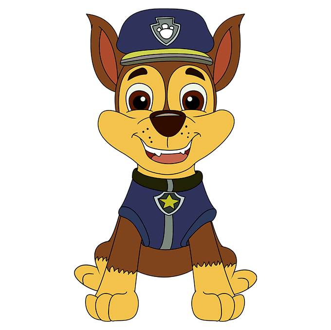 How to Draw Chase from Paw Patrol: Step 10